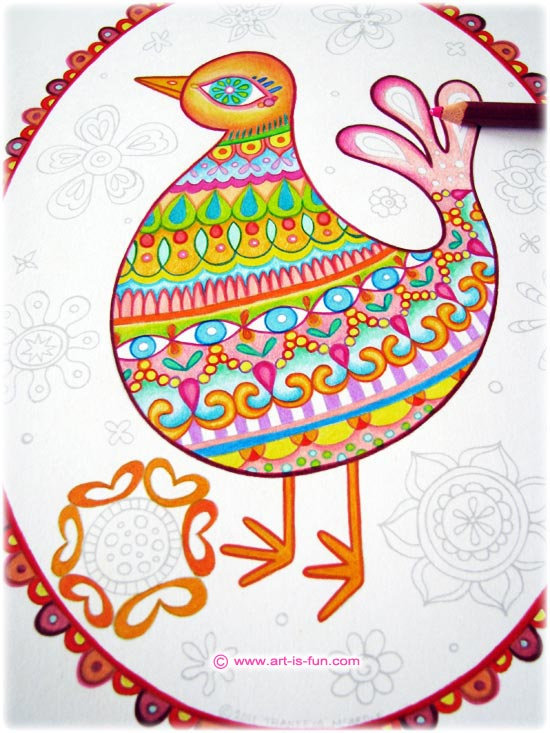 The bird coloring page above was brought to life with  Prismacolor colored pencils .