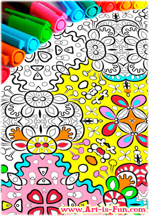 abstract patterns coloring page example