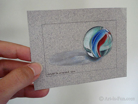 Photorealist Marble Drawing by Thaneeya