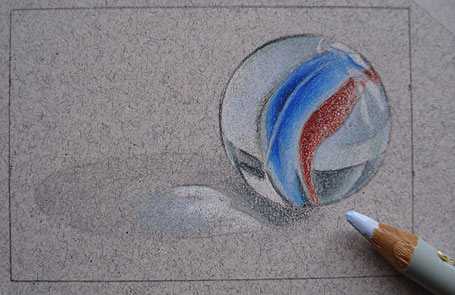 Drawing a Marble with Colored Pencils