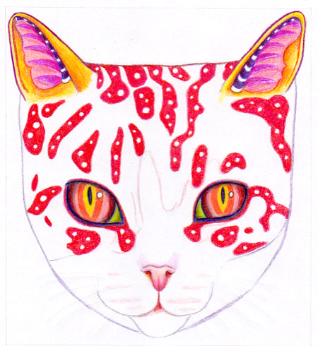 Drawing on red and white polka dots