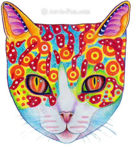 How to Draw a Cat Finished Drawing