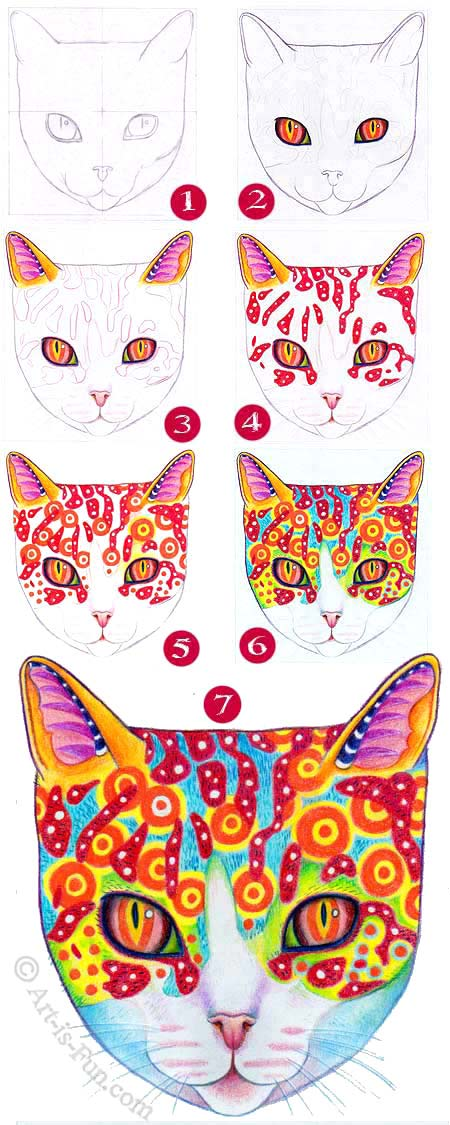 How to draw a cat step-by-step