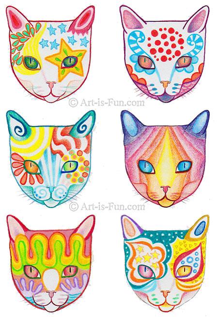 Colorful Cat Drawings