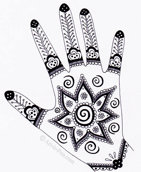 Mehndi Hand Outline : Henna hand designs art lesson make a unique self portrait