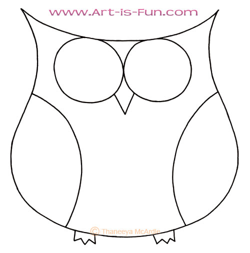 Cute owl blank outline by Thaneeya