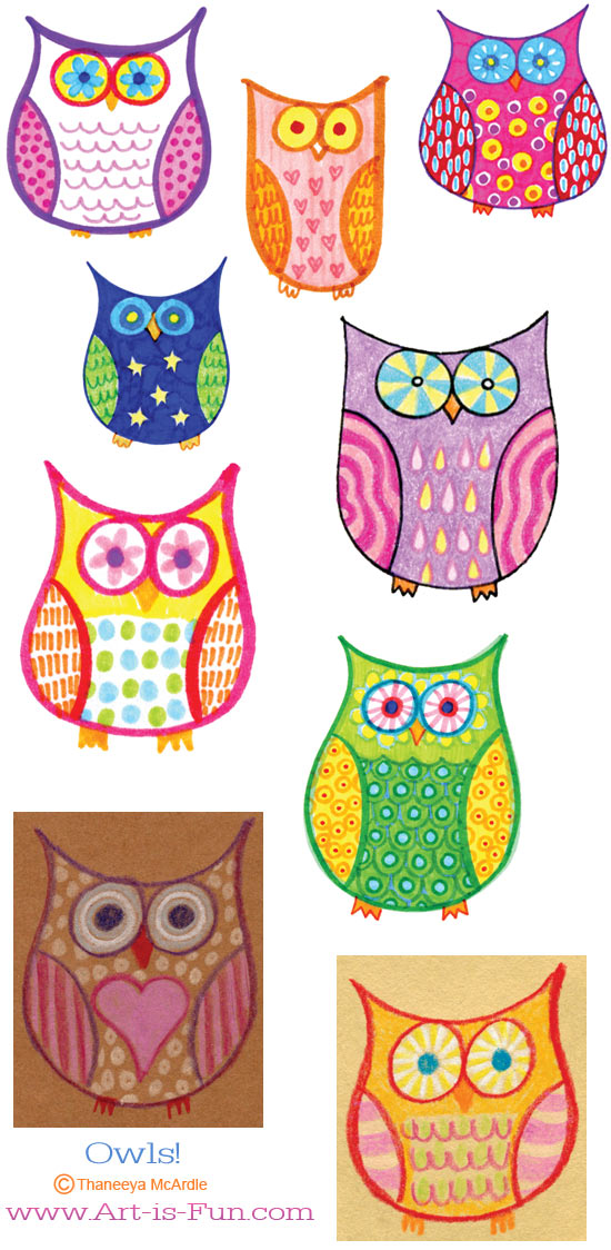 Cute colorful owls by Thaneeya McArdle