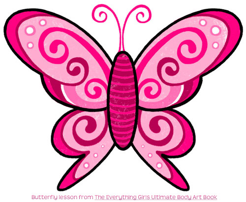 Butterfly Drawings With Color Pink Butterfly Doodle Tattoo