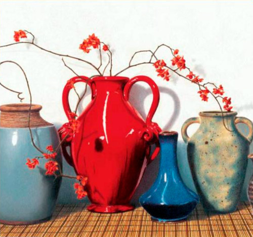 One of Cecile Baird's colored pencil still life paintings, as seen in her book Painting Light with Colored Pencil