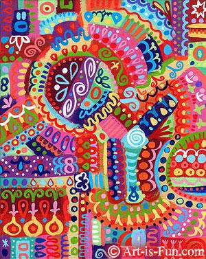 """Mesmeric -8"""" x 10"""" -Acrylic on Canvas"""