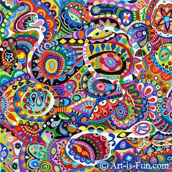 "Orderly Chaos -12"" x 12"" -Acrylic on Canvas"