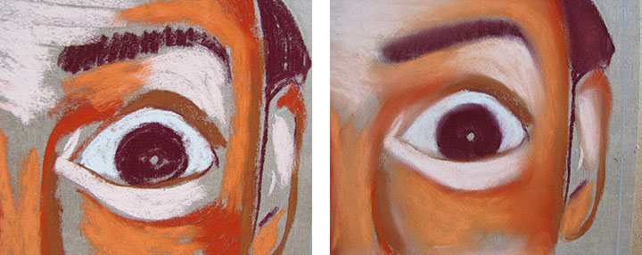 Pastel Blending Close-Up Comparison