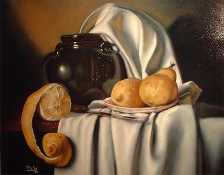 "Brown Vase and Fruit, 16"" x 20"", Oil on Canvas by Delmus Phelps"