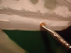 Delmus demonstrates an oil painting technique