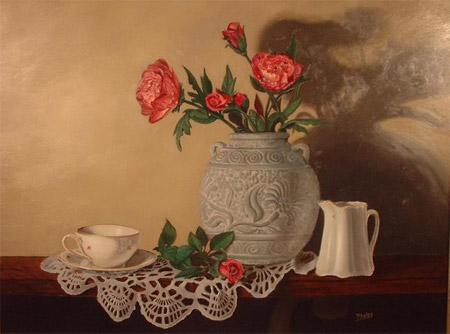 Grey Vase, Oil Painting by Delmus Phelps