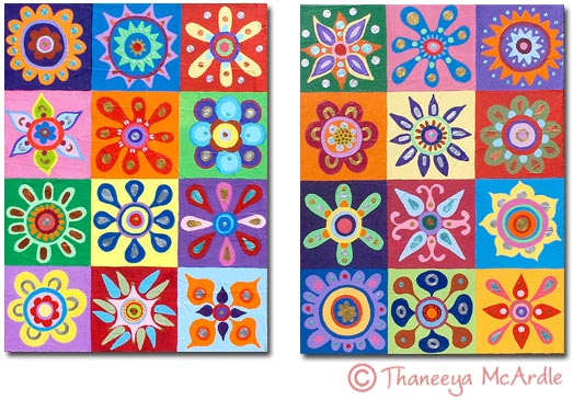 Pair of Abstract Art Flower Paintings