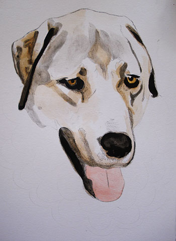 Watercolor Dog Painting in Progress