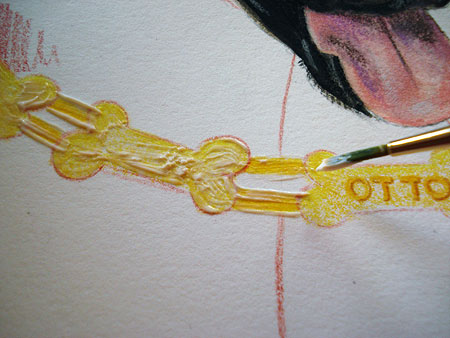 In this photo, you can see how I applied the watercolor masking fluid to the bones, starting on the left.