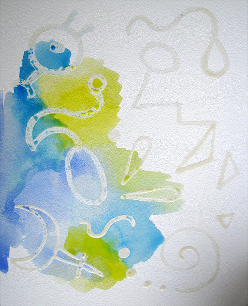 Painting over masking fluid with watercolors
