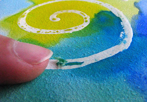 Rubbing Off Watercolor Masking Fluid