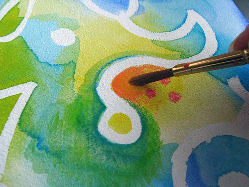 Adding water to watercolor pencils