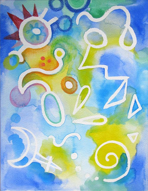 Watercolor Pencil Abstract Lesson by Thaneeya