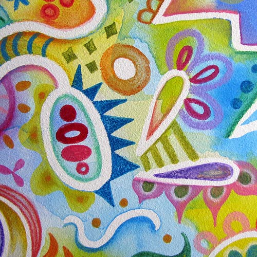 Abstract Watercolor Pencil Art Close-Up