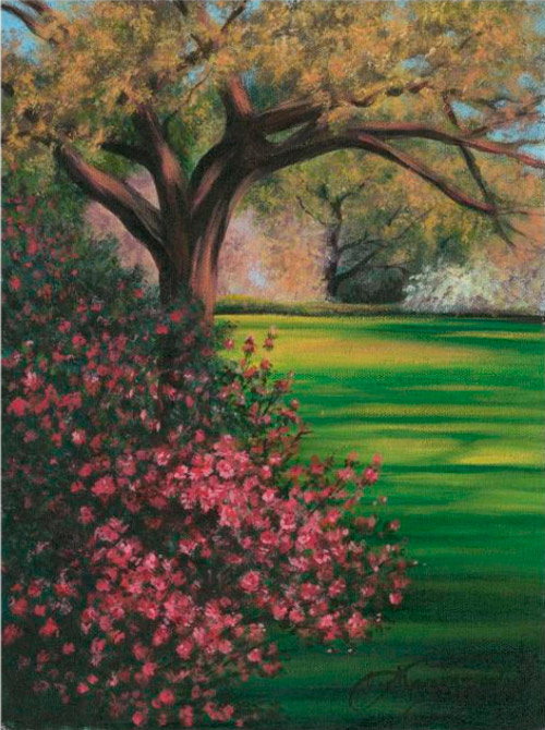 One of Lee Hammond's landscape paintings, from Lee Hammond's Big Book of Acrylic Painting