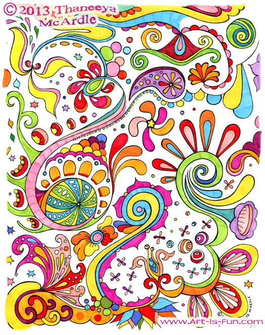 Free Abstract Coloring Page to Print: Detailed, Psychedelic Abstract ...