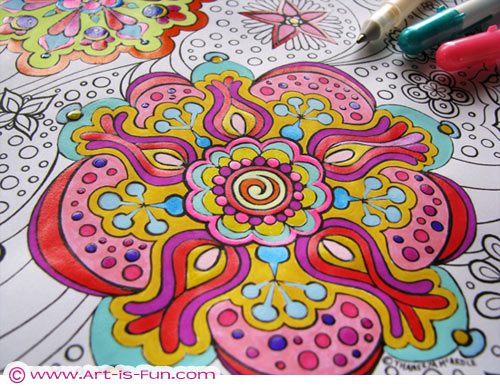 Printable Abstract Coloring Book By Thaneeya