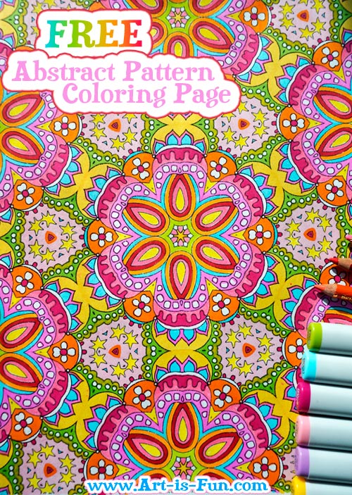 Free Abstract Pattern Coloring Page Detailed Psychedelic