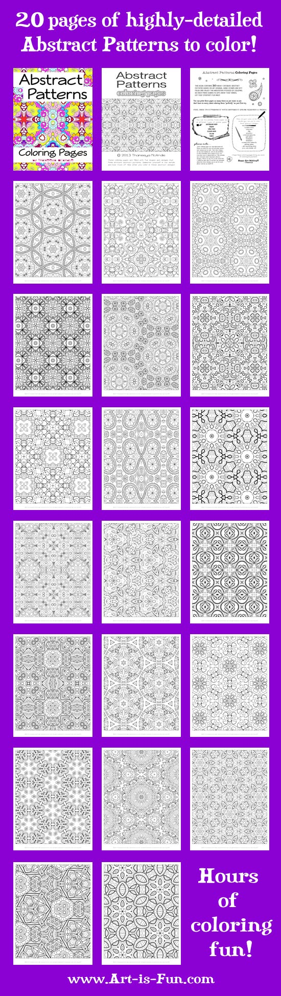 Free Abstract Pattern Coloring Page: Detailed Psychedelic Art by Thaneeya McArdle Art is Fun