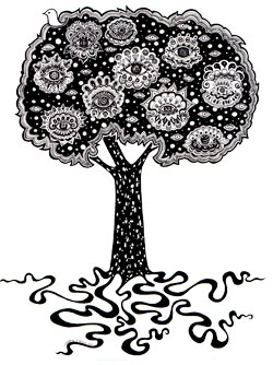 Tree of Life Ink Art by Thaneeya
