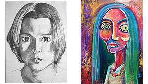 Portraits can be realistic or expressionistic