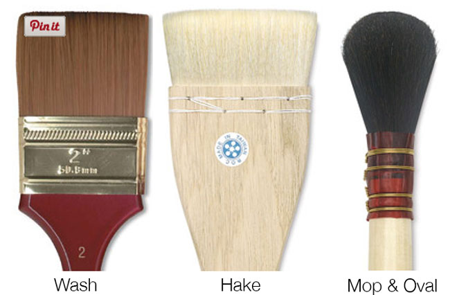 Wash, Hake, Mop and Oval Paintbrushes