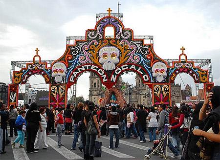 Decorated entrance to the Panteon Zocalo in Mexico City on Dia de los Muertos Photo credit: AlejandroLinaresGarcia