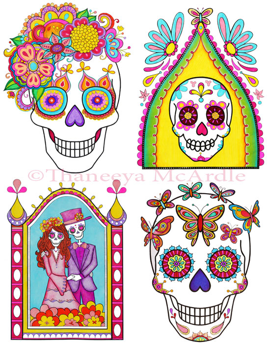 Day of the dead coloring book adult coloring book by thaneeya art