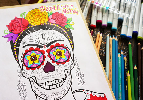 Frida Day of the Dead Skull by Thaneeya