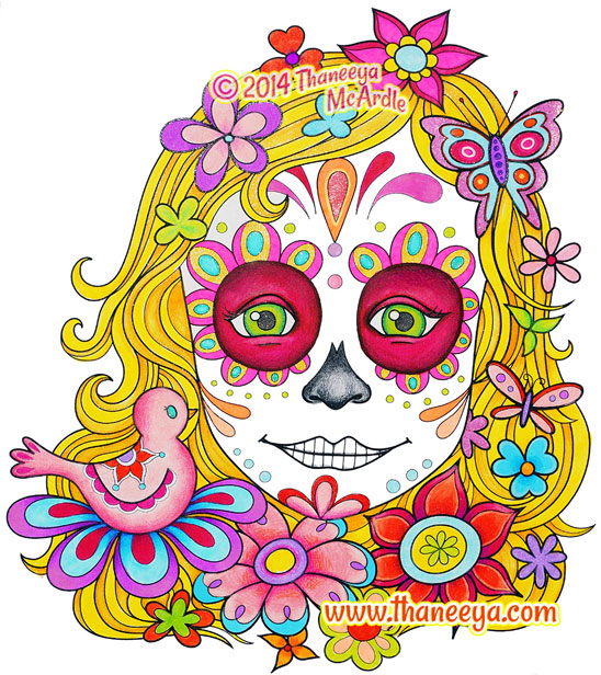 sugar skull girl coloring page - Day Of The Dead Coloring Book