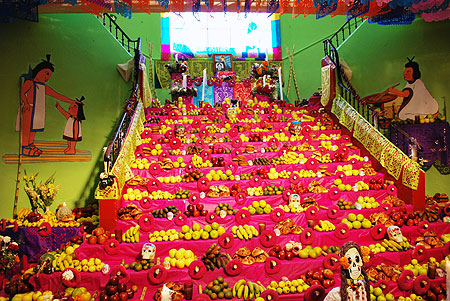 Dia de los Muertos altar at a school in Mexico Photo credit: Thelmadatter