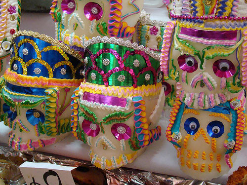 Sugar skulls wearing hats at the Feria de Alfenique in Mexico Photo credit: Jorge Nava