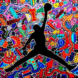 Basketball Abstract Art Painting by Reggie Laurent