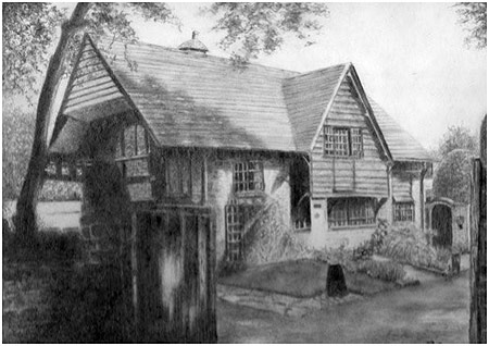 Graphite drawing of an English house by Doreen Cross