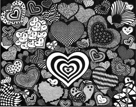 Can you spot the faces hidden in the hearts?
