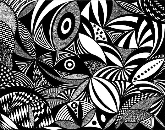 Black and White Doodle Art by Dia Stafford
