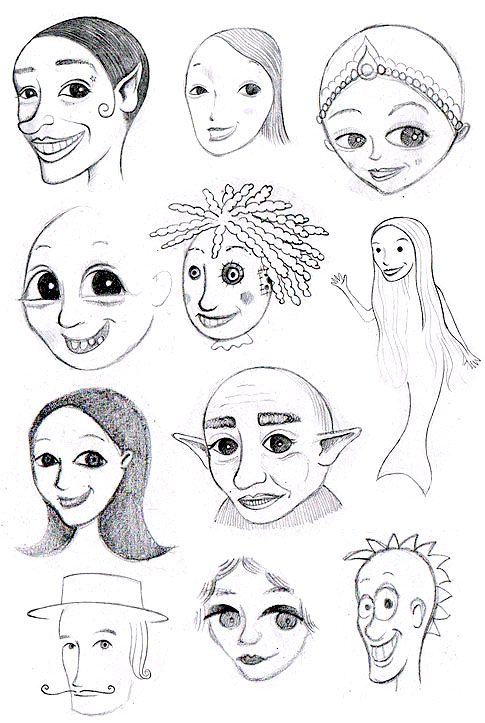 Whimsical Face Sketches