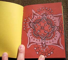 Stephanie's mandala drawn in a Fabriano Multi-Color Artist journal