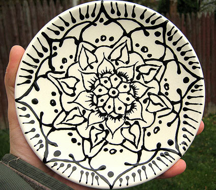 Painted mandala plate by Stephanie Smith, before being fired
