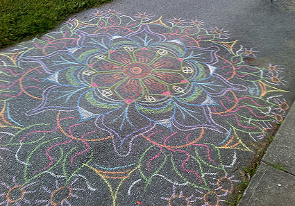 Mandala sidewalk art by Stephanie Smith