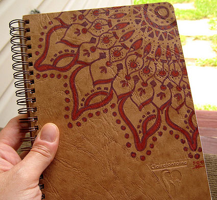 Mandala drawn on Clairefontaine journal cover, by Stephanie Smith